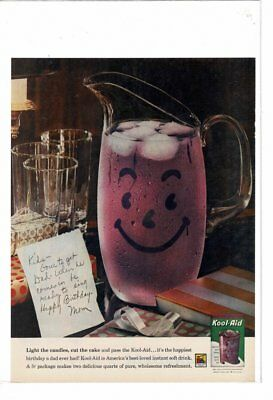 Vintage Old Kool-Aid Smiling Picture Birthday Refreshments Ad Print #b894