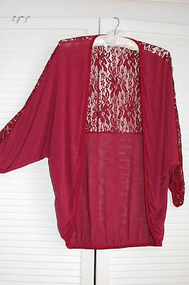 Made In Italy Lagenlook cardigan With Lace Detail One size 10-14 Dark red