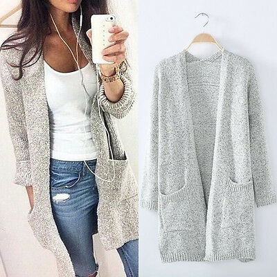Newest Womens Long Sleeve Loose Knitted Sweater Jumper Cardigan Outwear Tops US