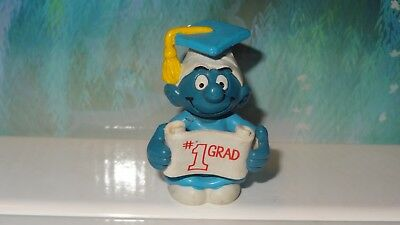 Smurfs #1 Grad Graduation Smurf 20195 Vintage Rare Authentic Unique Figurine
