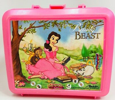 Vintage Disney Beauty And The Beast Pink Lunch Box Belle Reading Aladdin