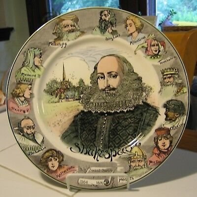 """VINTAGE ROYAL DOULTON SWEET SWAN of AVON SHAKESPEARE COLLECTOR PLATE 10.5"""" MINT!"""