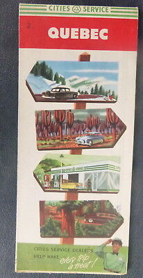 1954 Quebec road  map Cities Service gas Canada