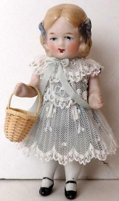 """Vintage Germany BISQUE MINIATURE DOLL Jointed 4 1/2"""" Dollhouse Doll #1"""