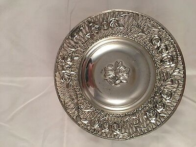 "Silver candy dish 1 1/2 X 6"" Rose Pattern"