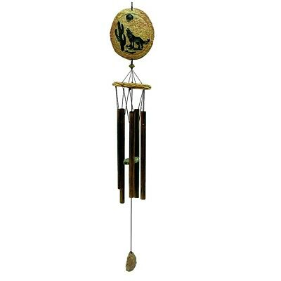 Howling Coyote Etched in Stone Wind Chime Outdoor Garden Windchimes 36 Inch New