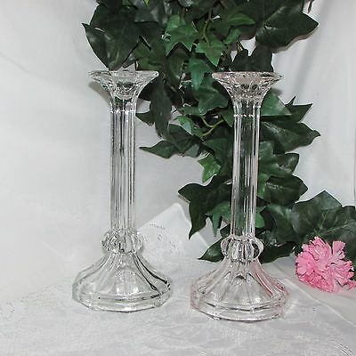 "Clear/crystal Glass Candle Holders 9.5"" Tall Footed Taper Dinner Candlestick"