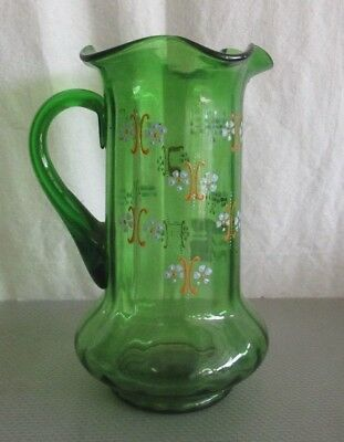 Antique Emerald Green Water Pitcher With Hand Painted Flowers