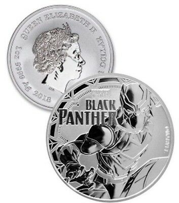 2018 Tuvalu Marvels Black Panther 1oz Silver Coin (b.300m)