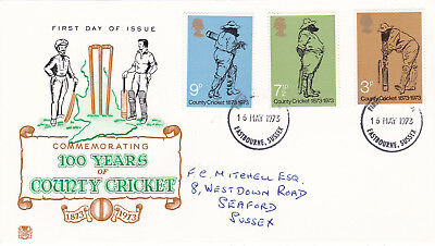 GB 1973 100 years of County Cricket Stuart FDC Eastcourne CDS VGC