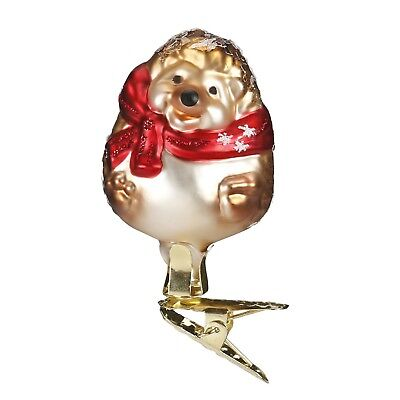 Inge Glas Baby Hedgehog German Glass Christmas Tree Ornament FREE BOX