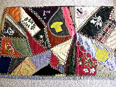 CRAZY QUILT BLOCK from 1880~90s QUILT~EMBROIDERED TEAPOT~PITCHER & BOWL~FLOWERS~