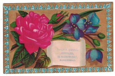 Antique 1800's Philip H. Kimball Jeweler Marblehead Mass. Victorian Trade Card