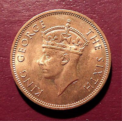 Seychelles Islands-1948 5 Cents- King George Vi- Royal Mint, Bronze Km#7  Teg