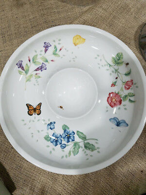 """Lenox Butterfly Meadows Pattern chips and dip bowl 12"""" Diameter No Box."""