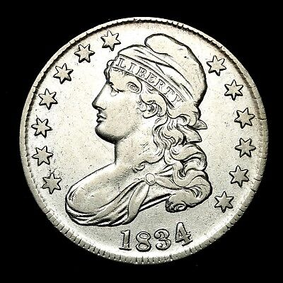 1834 ~**ABOUT UNC AU**~ Silver Capped Bust Half Dollar Antique US Old Coin! #A27