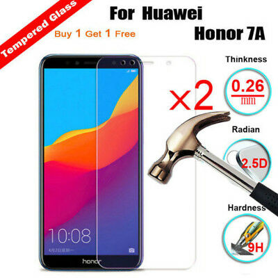 2Pcs 9H Tempered Glass Screen Protector Cover Film For Huawei Honor 7A V10