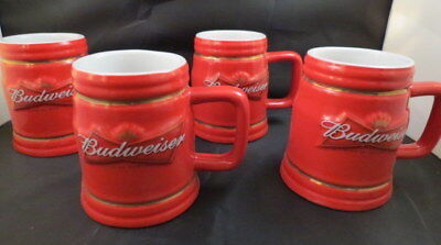 Lot Of 4 Budweiser Beer Stein New Bud Relief Mug 12Oz Ceramic Anheuser Busch