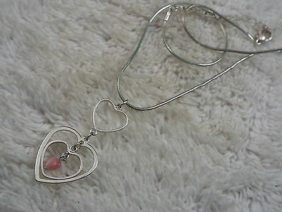 Silvertone Pink Heart Pendant Necklace (B7)