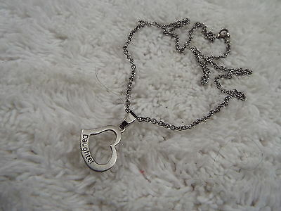 Silvertone DAUGHTER Stainless Steel Heart Pendant Necklace (D79)