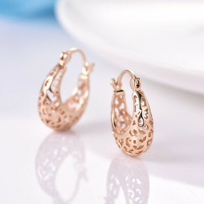 18K Yellow Gold Filled Hollow Design Small Hoop Earrings Jewelry Gift For Women