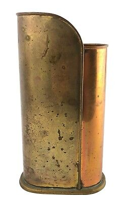 Vintage Copper & Brass Vase AIM for the Best Hong Kong Two Tone Metal Caddy
