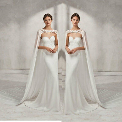 cb8de0fe6fe37 Wedding Bridal Long Cloak White Ivory Bridal Dress Cape Lace Edge Wraps  Jacket