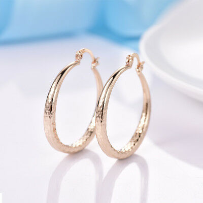Nice Quality Women Yellow Gold Filled Silver Large Smooth Hoop Earrings 35mm