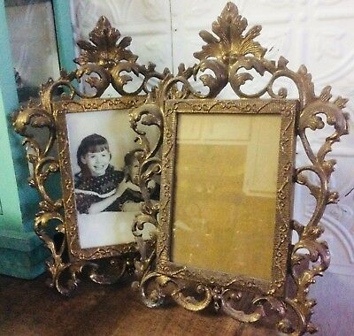 Vtg Antique Photo Picture Frame Rococo Style Ornate Brass Folding Stand Pair Two