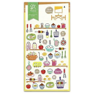 CUTE HOME COOKED MEALS STICKERS Sheet Kitchen Food Paper Craft Scrapbook Sticker