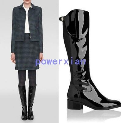 Womens Shiny Leather Knee High Boots Long Riding Low Block Heel Zip Knight Shoes