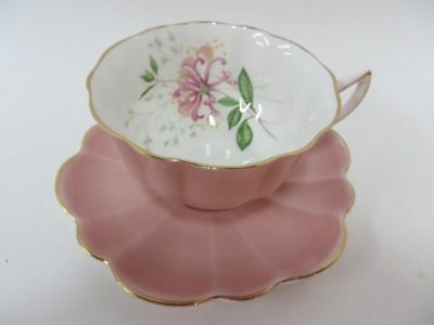 Shelley Stratford Shape Dusty Rose Pink Teacup & Saucer White Inside Flowers