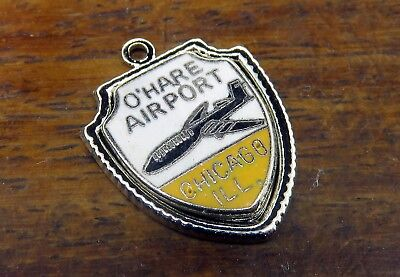 Vintage silver ILLINOIS AIRPLANE CHICAGO O' HARE AIRPORT TRAVEL SHIELD charm #E1