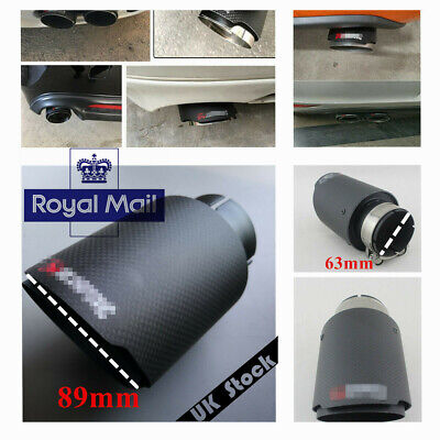 63mm 89mm Carbon Fiber Mattle Black Exhaust Tips Muffler Black Stainless Steel