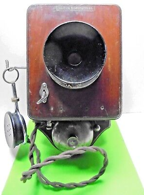 ANTIQUE OLD EARLY BRITISH MADE 1920s 30s VINTAGE WALL MOUNTED TELEPHONE RECEIVER