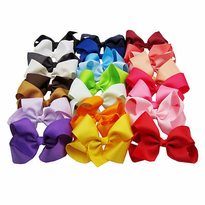 10 Pack Large Knot Grosgrain 6'' Ribbon Hair Bow Alligator Clip Girls Boutique