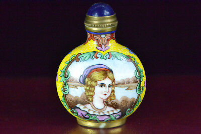 Old Ancient Collectible Chinese  copper cloisonne paint west figure Snuff Bottle