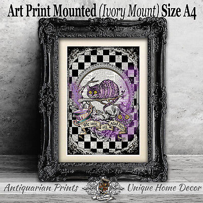 Cheshire Cat Gothic Art Print on Antique Dictionary Page Alice in Wonderland