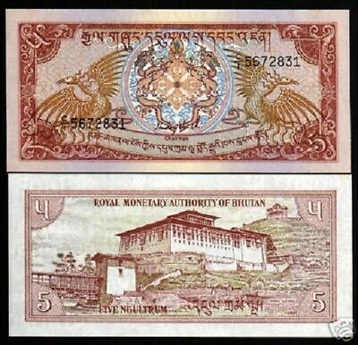BHUTAN 5 NGULTRUM P14 a 1985 X 100 PCS LOT BUNDLE BIRD DZONG UNC ANIMAL BANKNOTE