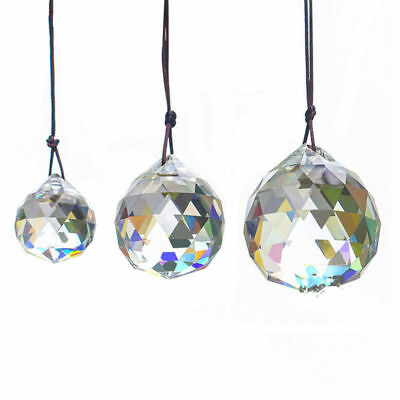 Hanging Clear Crystal Ball Sphere Prism Pendant Faceted Glass Lamp Chandelier x2