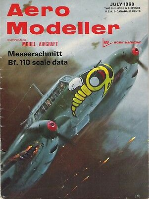 Aero Modeller Magazine. Volume XXXIII, No. 390, July, 1968. Messerschmitt Bf110.