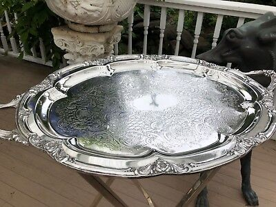Antique English Sheffield Silver Plate Oval Tray - Extra Large  w Stand