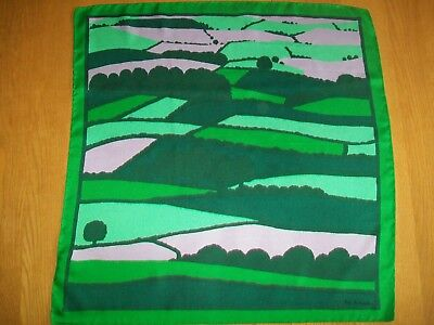National Trust / Pat Albeck. Gorgeous Countryscape Design Vintage Silk Scarf