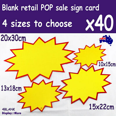 NEW 40X Retail Store Shop Paper Price SIGN Card-BLANK | 4 Sizes | AUSSIE Seller