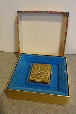 Avon book metal solid perfume vintage collector ornate small pocket size