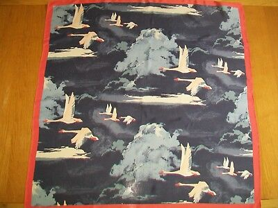 Laura Ashley. Fabulous Unusual Geese In Flight Design Vintage Silk Scarf