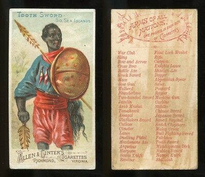 """1887 N3 Allen & Ginter Arms of All Nations """"Tooth Sword, Sea Islands"""" VG -9100"""