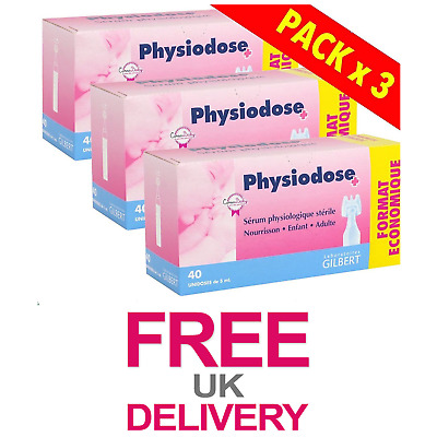 3 Pack Of 40 Single Doses Physiodose Physiological Serum Nasal Eyes Cleanse NEW