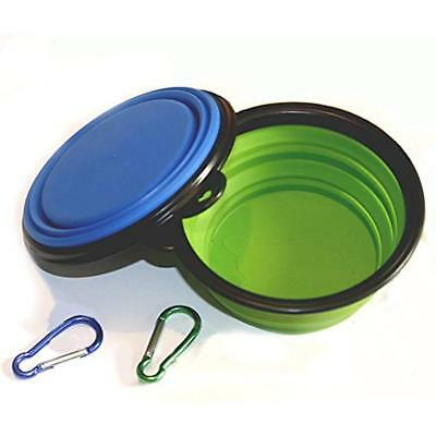 2-pack Travel Bowls Collapsible Dog Bowl, Food Grade Silicone BPA Free, Foldable