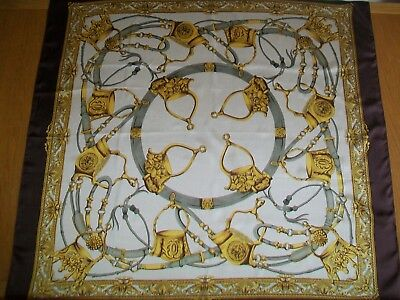 "Huge ! 40"" Square. A Superb Top Quality Equestrian Design Vintage Silk Scarf"